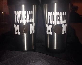 Football mom travel mugs