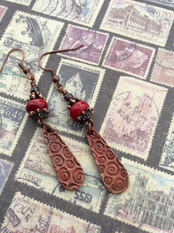 Lady in Red... Dagger Boho Earrings, Dangle, Rustic Red, Artisan Lampwork, Copper, Textured, Patina, Earthy, Organic, JustSlightlyVintage