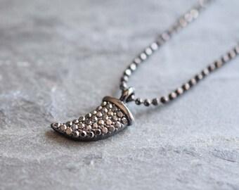 horn necklace, gunmetal necklace, gunmetal choker, gunmetal jewelry, pave necklace, pave pendant, pave gunmetal pendant, pave horn necklace