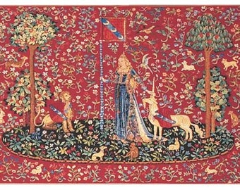 jacquard woven belgian gobelin wall tapestry The Touch Unicorn and lion on Millefleurs background and trees of life wall hanging wall decor