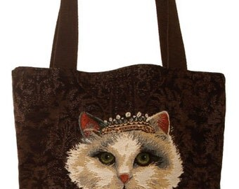 belgian gobelin tapestry tote bag cat with crown jacquard woven