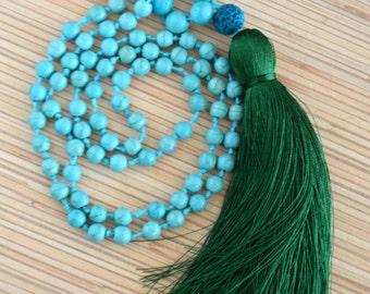 Long beaded necklace Tassel necklace Knotted mala necklace with tassel Yoga meditation necklace Boho jewelry Mala necklaces Mala beads Gift