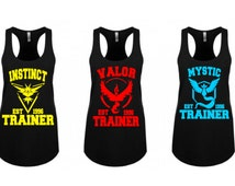 Pokemon Team Trainer Valor Instinct Mystic Pokemon Go Cosplay Tanks