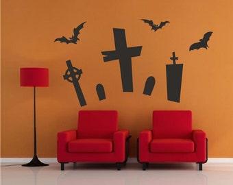 Halloween Decals, Autumn Decals, Fall Decals, Halloween Wall Decals Halloween Wall Designs, Cemetery Wall Decals, Scary Wall Decals, h28