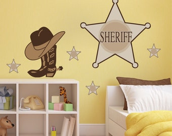 Sheriff Decals, Western Decals, Kid's Room Cowboy Sheriff Decal, Sheriff Wall Murals, Wild West Wall Decals for Kids, Wild West Sticker, n81