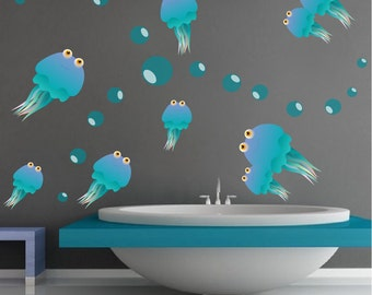 Jellyfish Decals, Reusable Jellyfish Wall Design, Jellyfish Stickers, Jellyfish Wall Decal, Jellyfish Adhesive Stickers, Jellyfish Art, d42
