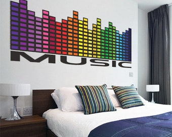 Music Wall Decal Mural, Music Equalizer Wall Decal Quote, Music Wall Art Design Sticker, Music Graphic Equalizer Sticker, a36