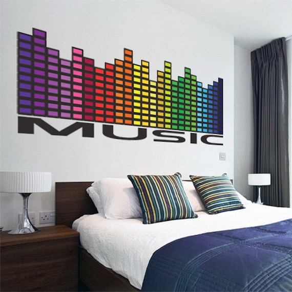 Music Wall Decal Mural Music Equalizer Wall Decal Quote