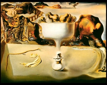 "Salvador Dali Painting, ""Apparition Of Face and Fruit Dish"", Salvador, Surrealism, Dali Print, Vintage Book Plate Print"