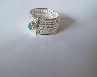 Emerald Linked Stack Ring Set