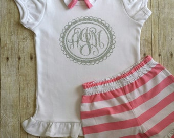 Monogrammed Outfit,  Girls Monogrammed Shirt, Personalized Shirt, Ruffle Shorts, Girls Personalized Shirt, Birthday Outfit