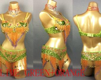 FREE SHIPPING hand beaded  belly dance costume Orange Green bra belt Neck 3pcs