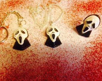 Scream inspired ghost face necklace