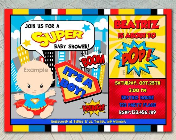 invitation super hero baby shower little super baby baby invitation