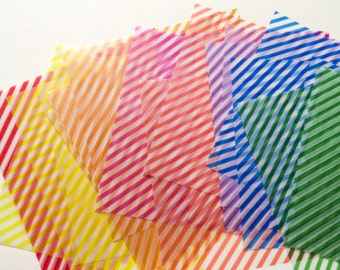 Colorful, Transparent Origami Paper - Awesome Striped Chiyogami - 32 Sheets