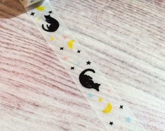 Cat and Moon Washi Tape - White