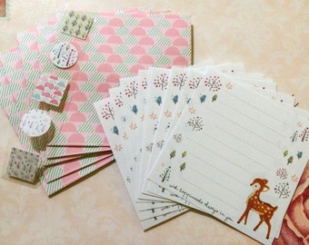 Square Mini Letter Set - Deer - Pretty Forest Stationery