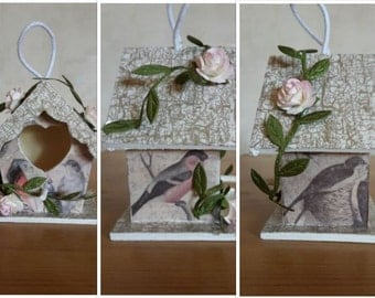 Bird Nesting Box, Shabby Chic Bird House, Decorative Bird Box, Decoupage Bird House, Wooden Bird House, Rustic Bird House