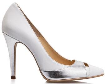 Emma White Leather Stiletto Pumps