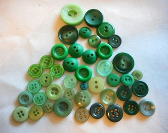 Vintage Buttons, Lots of GREENS, Range of Greens, Go Green, Green Buttons,