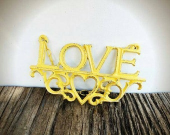 BOLD summer squash LOVE sign with heart // rustic distressed shabby chic metal // valentines heart teen room decor