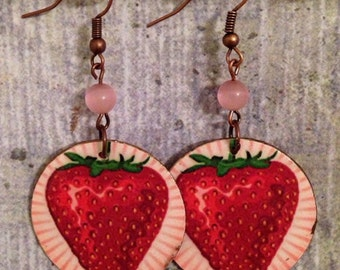 Up-cycled Strawberry Earrings, cardboard cereal box, decoupage, summer earrings