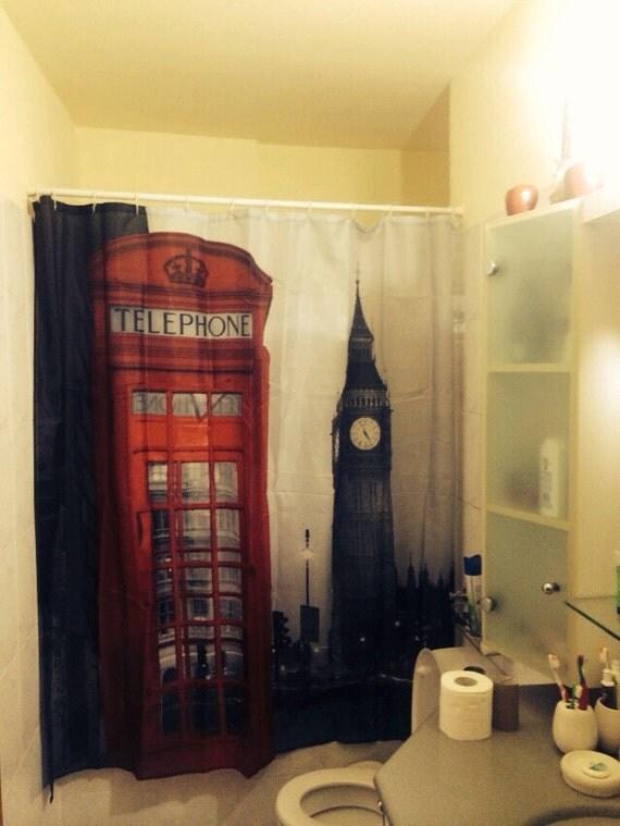 London phone booth shower curtainbathroom by gmarketing on etsy - Bathroom accessories london ...