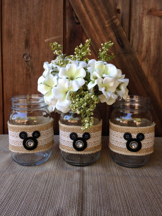 mason jar decorations for weddings disney wedding centerpiece mickey mouse jars set of 3 5730