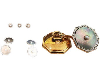 Antique Victorian Gents Dress Set Cufflinks Button Larter Gold MOP Pearl (#4984)