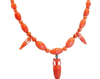 Antique Victorian Carved Coral Necklace w Coral Amphora Drops Gold Clasp (#4986)