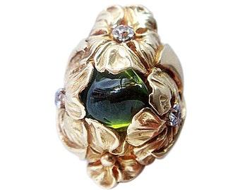 Antique Art Nouveau Ring 14k Gold Tourmaline Diamonds (#4689)