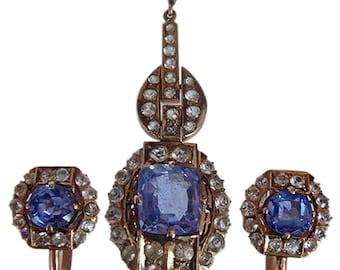 Art Deco 18k Gold Sapphire Earrings & Pendant Suite (#4398)