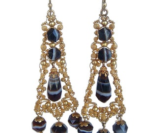 Antique Earrings Banded Agate 14k Gold Cannetille C1820 (#4282)