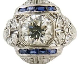 Art Deco Engagement Wedding Ring 1.01ct Central Diamond Fab Platinum Mount(#5499)