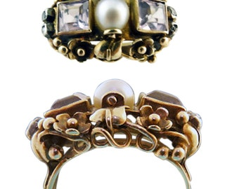 Antique Arts and Crafts Ring Gold Amethyst Pearl (#5559)