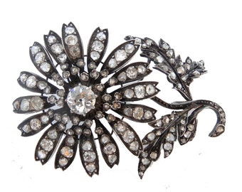 Antique Victorian Dual Pendant Brooch Gold Silver Diamonds Fitted Box (#5815)