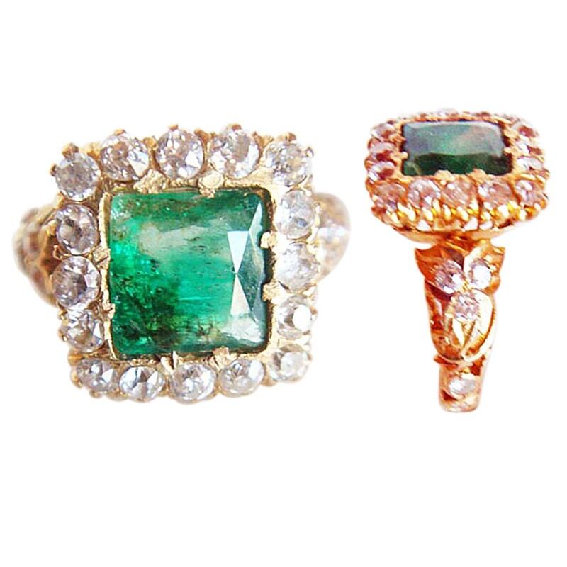 antique vintage ring gold emerald diamonds in openwork