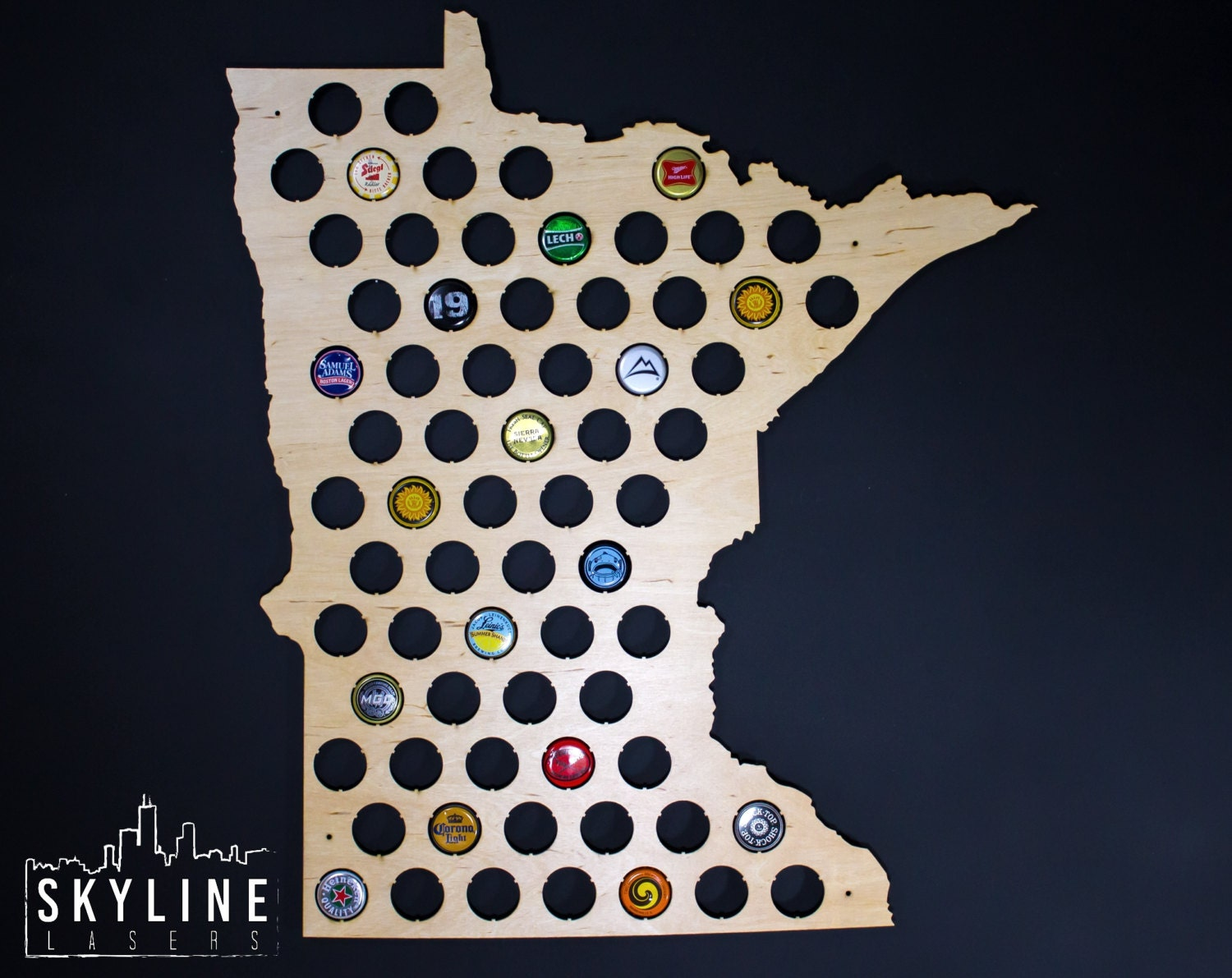 Minnesota Beer Cap Map Mn Glossy Finish Wood Beer Cap Holder