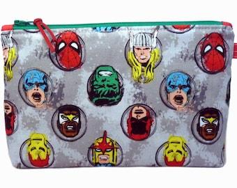 Superhero Heads Makeup Bag, Toilet Bag, Handmade in the UK