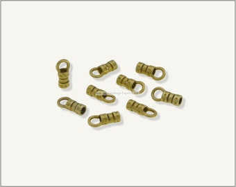 10 pcs.+  2mm Crimp End Cap, Crimp Ends, Cord Ends for Leather Cords & Chains - Raw Brass