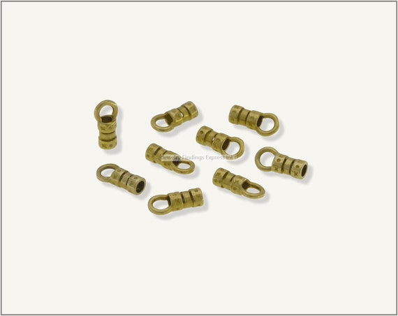 10 pc.+  2mm Crimp End Cap, Crimp Ends, Cord Ends for Leather Cords & Chains - Raw Brass