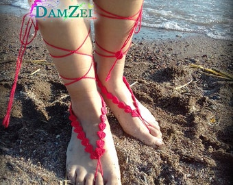 Barefoot Sandal, Crocheted Heart Anklet, Red Barefoot Sandal, Lace Barefoot Sandal, Barefoot Anklet, Foot Jewelry
