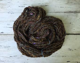 Handspun 3 ply yarn, 44yds, 4.7 oz, *Forest floor*