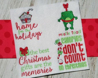 Christmas Sentiments Seven 12 Different Filled Stitch Embroidery Designs 4x4 5x7