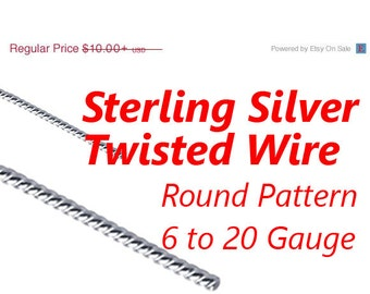 Sterling Silver Twisted Wire, 6 8 10 12 14 16 18 20 Gauge, Round Pattern, Dead Soft,