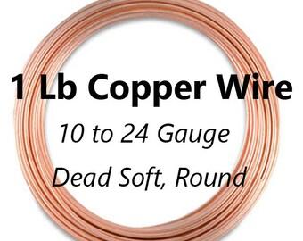 1 Lb, Copper Wire, 10 to 24 Gauge, Round Copper Wire, Dead Soft Wire, Copper Jewelry Wire Spool, 10, 12, 14, 16, 18, 20, 21, 22, 24