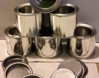 6 x 60ml empty lever lid paint tins, containers.