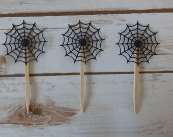 Black Spider Web Cupcake Topper - Halloween