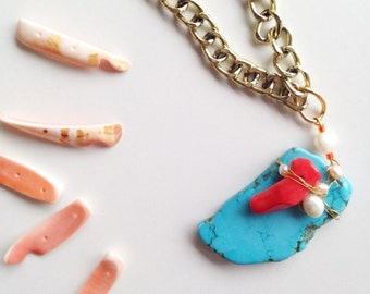 Turquoise+coral pendant