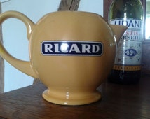 Ricard, large pitcher, vintage French, 1970s collectible, pastis, retro barware, ceramic jug.